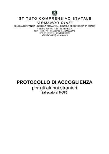 Protocollo Accoglienza - Istituto Comprensivo Armando Diaz ...
