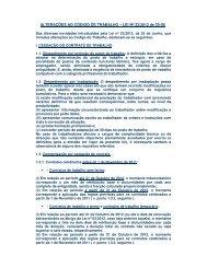 ALTERAÇÕES AO CÓDIGO DE TRABALHO – LEI Nº ... - VectWeb SM