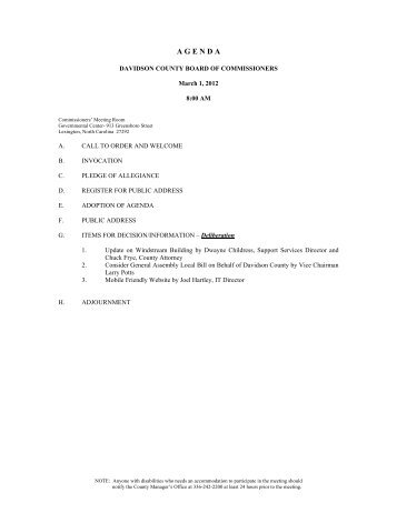 2012-March 01 Agenda - Davidson County, NC
