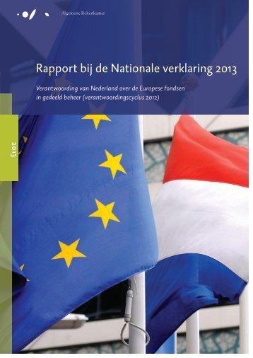 Rapport bij de Nationale verklaring 2013 - Algemene Rekenkamer