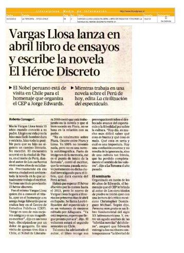 Vargas Llosa lanza en abril libro de ensayos La Tercera, 16 de ...