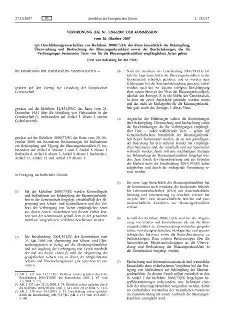 VERORDNUNG (EG) Nr. 1266/2007 DER KOMMISSION ... - EUR-Lex