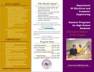 2007 Brochure for Summer Programs for High School Students ...