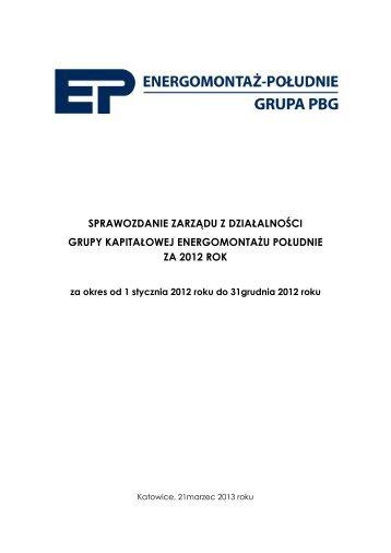sprawozdanie zarządu z działalności grupy kapitałowej ...