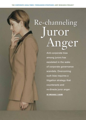 Re-Channeling Juror Anger - Persuasion Strategies