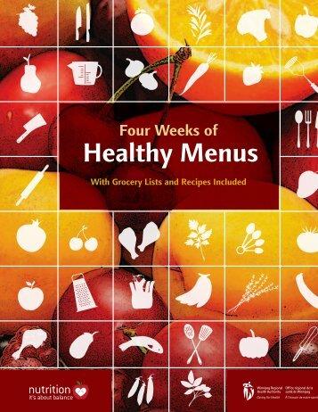 Four Weeks of Healthy Menus - Winnipeg Regional Health Authority