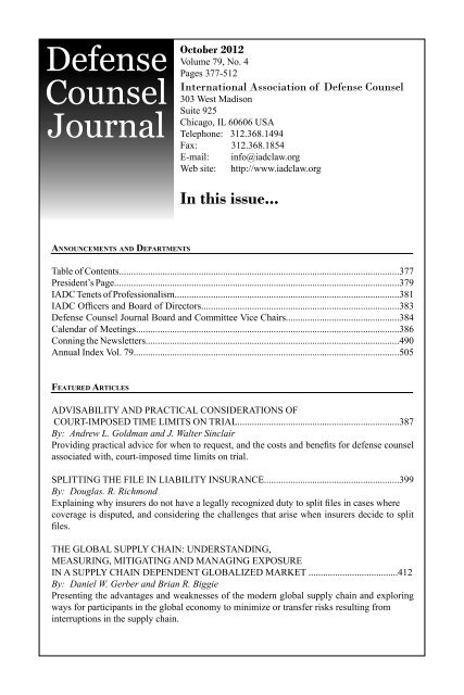 Defense Counsel Journal - International Association of