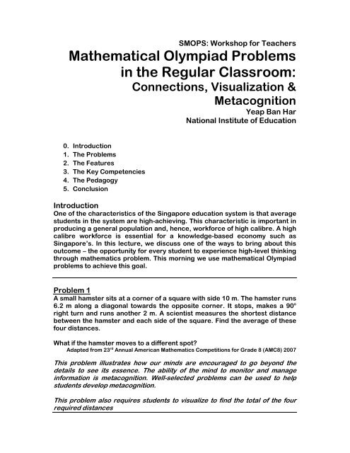 Mathematical Olympiad Problems in the Regular Classroom: - NIE