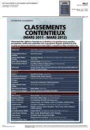 CLASSEMENTS CONTENTIEUX - FTPA