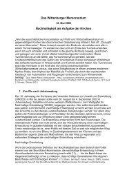 Ergebnisse des Ersten Wittenberg Memorandums - Zentrum ...