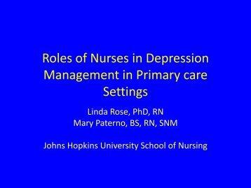 Roles of Nurses in Depression Management in Primary care ... - IUPUI