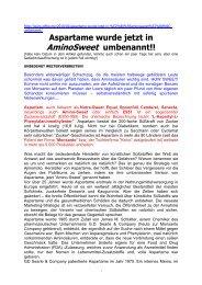 Aspartam wurde zur Verschleierung umbenannt - Teleboom.de