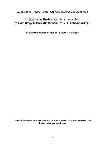 Präparierleitfaden für den Kurs der makroskopischen Anatomie im 2 ...