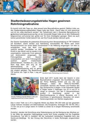 Stadtentwässerungsbetriebe Hagen gewinnen ... - Tracto-Technik