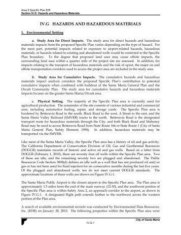 IV.G HAZARDS AND HAZARDOUS MATERIALS