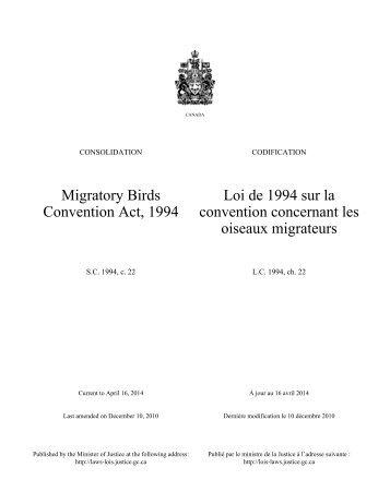 Loi de 1994 sur la convention concernant les oiseaux migrateurs