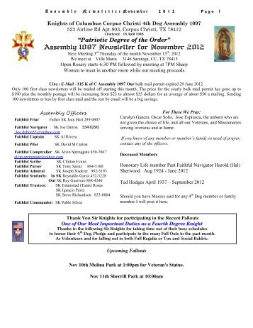 Assembly1097 November 2012 newsletter - Texas Knights of ...