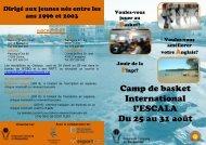 Camp de basket International l'ESCALA Du 25 au 31 août