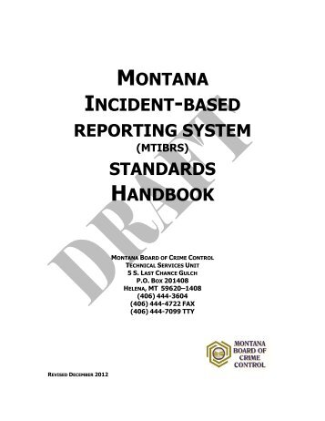 montana incident based reporting system standards handbook