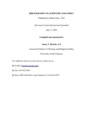 BIBLIOGRAPHY ON SCRIPTURE AND ETHICS Published by ...