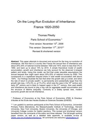On the Long-Run Evolution of Inheritance - Thomas Piketty - Ens