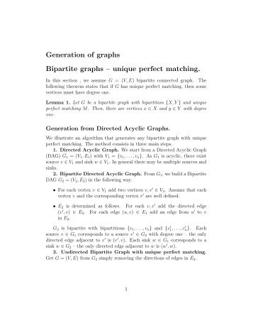 Generation of graphs Bipartite graphs – unique perfect matching.