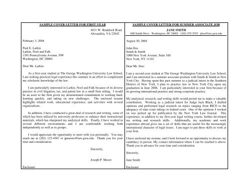 Cover Letter Samples 2008 George Washington University Law