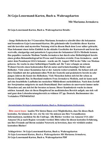 36 Geja-Lenormand-Karten, Buch u. Wahrsagekartenpdf ebooks ...