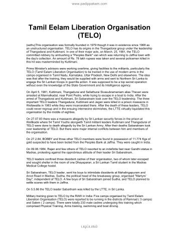 Tamil Eelam Liberation Organisation (TELO)