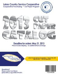 Lakes Country Service Cooperative Deadline for orders: May 31, 2013