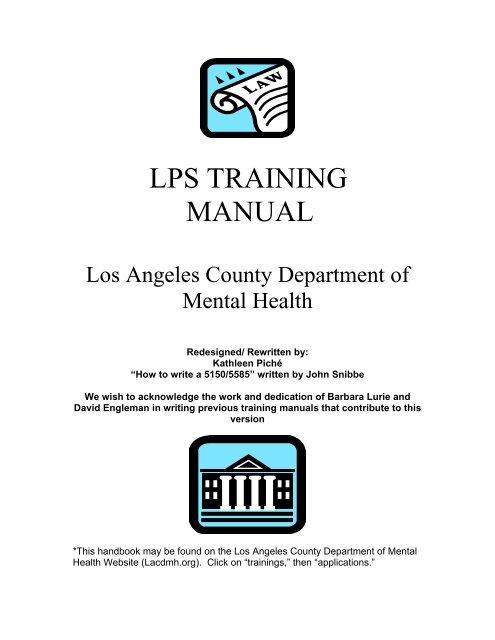 Lps Training Manual La County Department Of Mental Health Los