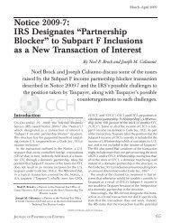 "Notice 2009-7: IRS Designates ""Partnership Blocker"" to ... - CCH"