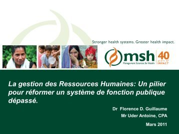 La gestion des Ressources Humaines: Un pilier pour réformer un ...