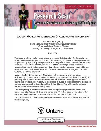 Labour Market Outcomes and Challenges of Immigrants - ONESTEP