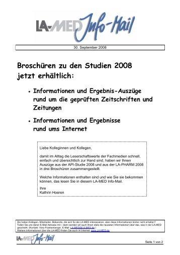 Broschüren zu den Studien 2008 jetzt erhältlich: - bei der LA-MED