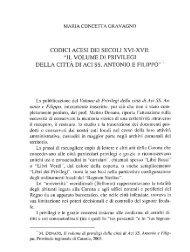 Gravagno M.C.. Codici acesi dei secoli XVI-XVII. - accademia di ...