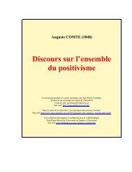 Discours sur l'ensemble du positivisme. Préambule général.