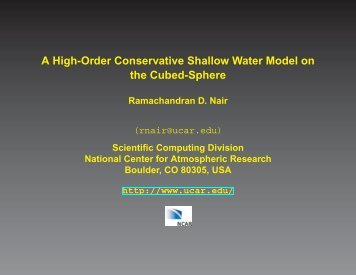 Global Shallow Water (SW) Modeling - IMAGe