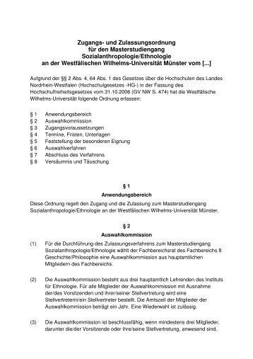 Master Zugangsordnung - Westfälische Wilhelms-Universität Münster