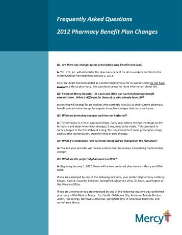 Frequently Asked Questions 2012 Pharmacy Benefit Plan ... - Mercy