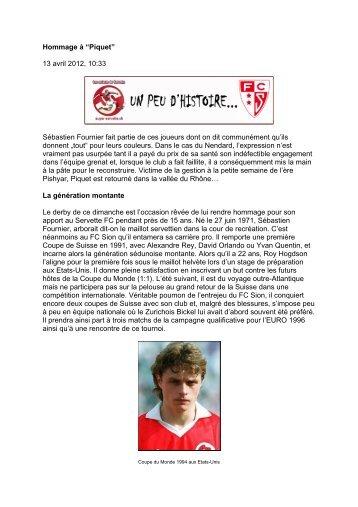 """Hommage à """"Piquet"""" 13 avril 2012, 10:33 ... - Super Servette"""