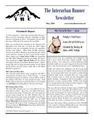 The Interurban Runner Newsletter - Interurban Runners Club
