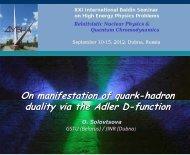 On manifestation of quark-hadron duality via the Adler D ... - JINR