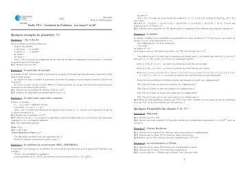 Quelques exemples de propriétés NP Quelques Propriétés des ... - FIL
