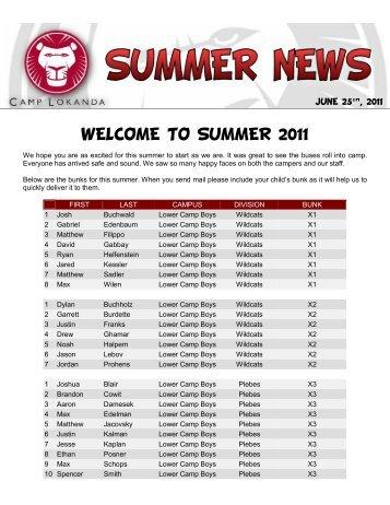 WELCOME TO SUMMER 2011 - Camp Lokanda