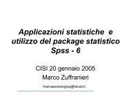 Applicazioni statistiche e utilizzo del package statistico Spss - 6 - Cisi