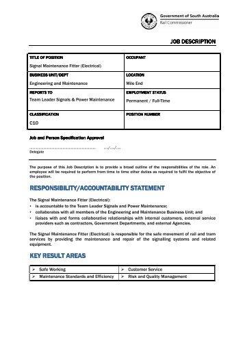 responsibility/accountability statement key result areas