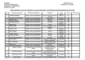 HCL 237 / 2008 Anexa 3 - Primaria Municipiului Hunedoara