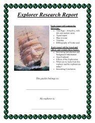 Fifth Grade Explorer Research Report
