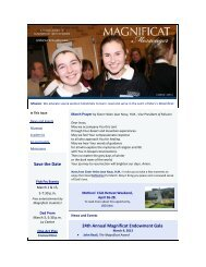 Save the Date 24th Annual Magnificat Endowment Gala